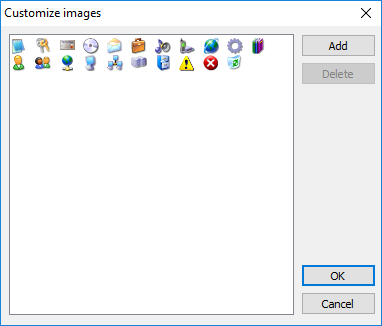 The Customize images window
