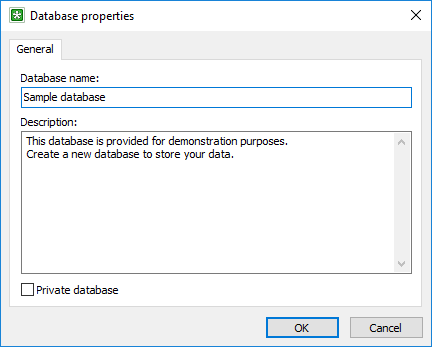 The Database properties window