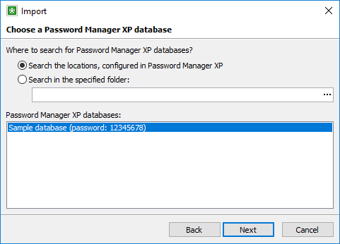 Import Password Manager XP database