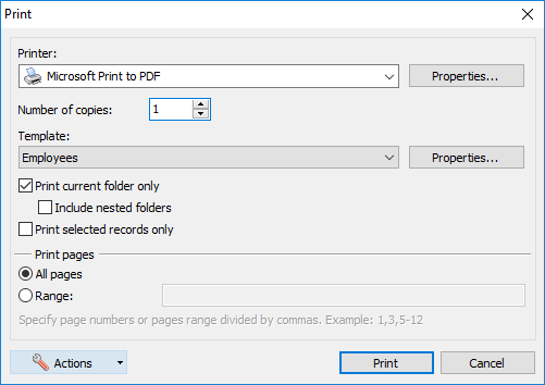 The print parameters window