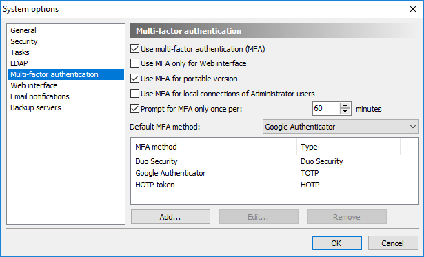 Configuration of Multi-factor authentication