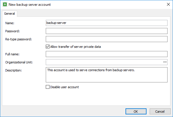 Adding a user account for a backup server